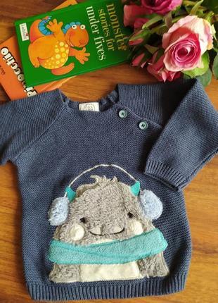Шикарный хлопковый реглан, свитер cool club на 3-6 месяцев.