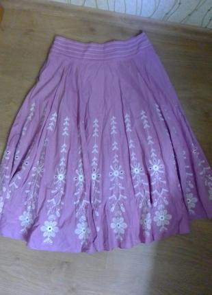 Крутая расклешенная натуральная юбка этно вышивка вышиванка