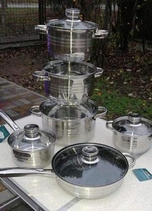 Набор кухонной посуды rainberg, 12 предметов, нержавеющая сталь