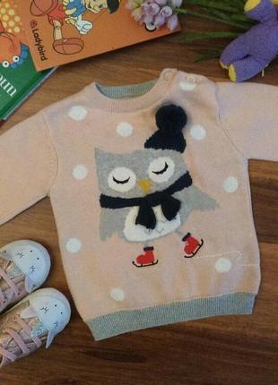 Нежный свитер,реглан для малышки mamas papas на 1-3 месяца.