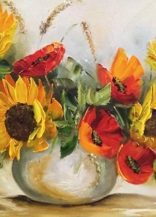 Картина «полевые цветы» живопись натюрморт