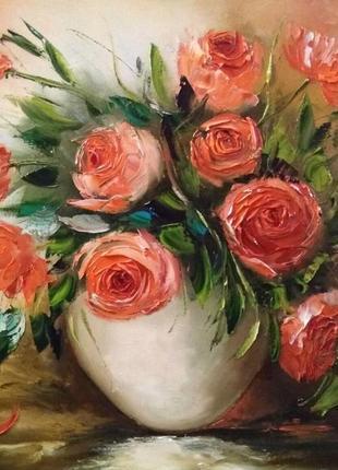 Картина «розы» живопись натюрморт