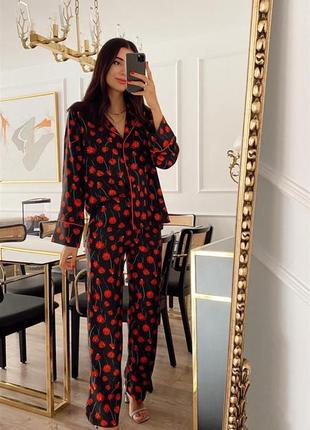 Шикарный брючный костюм в пижамном стиле из премиум коллекции h&m цветочный принт