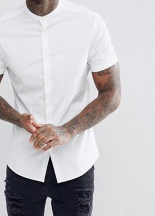 Мужская рубашка с воротником стойкой