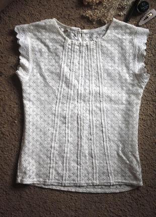 Ажурная блуза молочного цвета р-р s