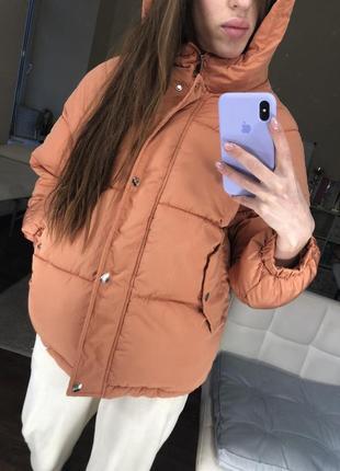 Куртка пуховик терракот укорочённый объёмный тёплый