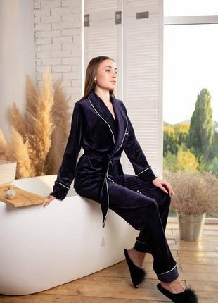 Пижама женская 090 укороченный халат завышенные штаны плюш велюр с хлопком синий