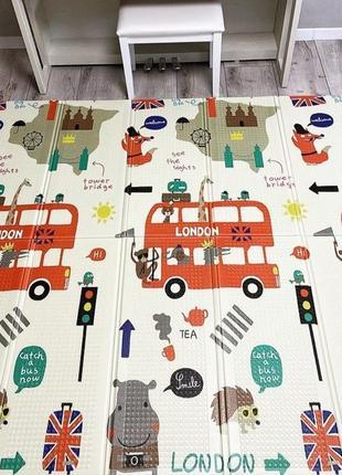 Детский складной коврик *автобус-котики* 200х150х1см