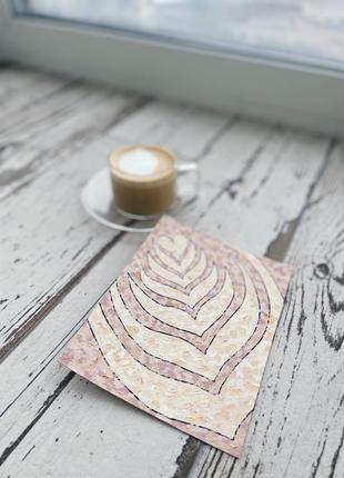 Картина рисунок открытка кофе латте арт акрилом don.bacon бежево-коричневая