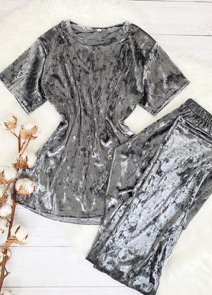 Велюровой костюм для дома и сна, пижамка футболка и штаны