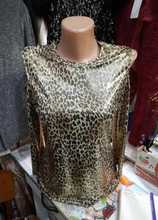 Леопардовая кофта с напылением золото