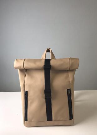Супер крутой женский бежевый рюкзак роллтоп с отделением для ноутбука