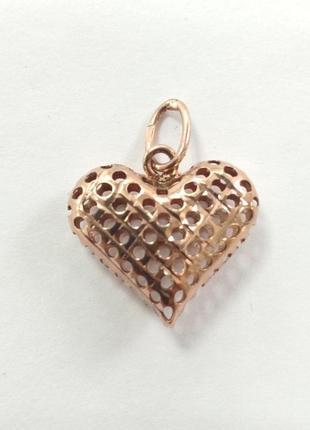 Золотой кулон сердце ажурный