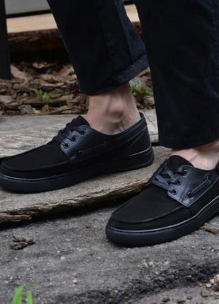 Туфли мужские черные натуральный нубук