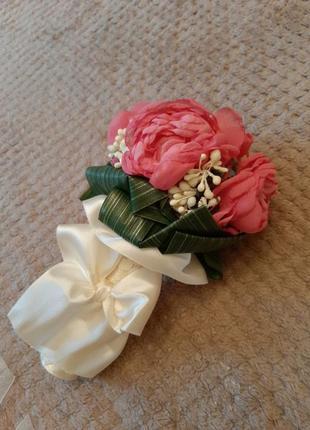 Свадебный букет/букет дублёр с нежными розовыми пионами ручной работы
