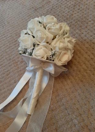 Свадебный букет/букет дублёр ручной работы с белыми розами