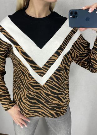Красивый тигровый свитшот на флисе amisu. все размеры.