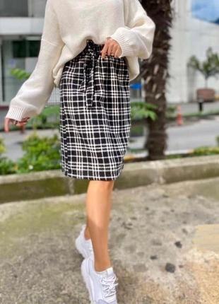 Стильная женская юбка длина миди в клетку - хит 2020-2021