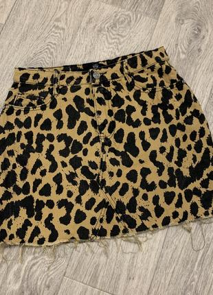 Скидка леопардовая юбка  джинс