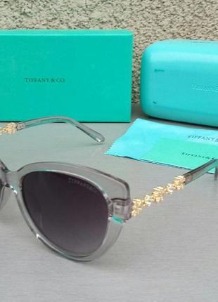 Tiffany & co очки женские солнцезащитные серые с золотом градиент