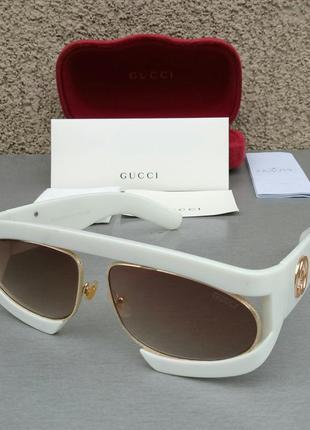 Gucci очки маска женские солнцезащитные белые