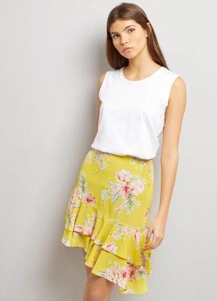 Асимметричная юбка в цветочный принт zara