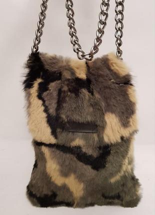 Изумительная сумочка ручной работы cosy consept натуральный мех кролика дания