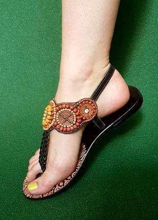 Сандалии sandals boho style, натуральные  кожа и бисер
