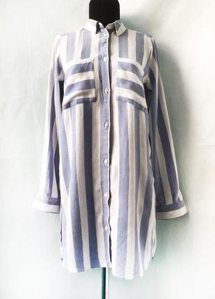 Легкая полосатая длинная рубашка h&m