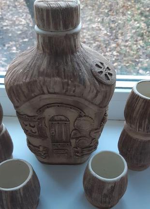 Набор керамический кувшин с крышкой и 6 стаканов для вина водки коньяк