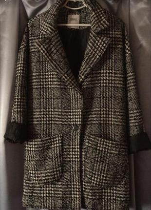 Oversize оверсайз весеннее осеннее пальто в гусиную лапку