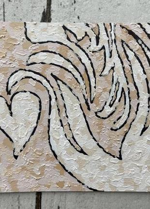 Картина рисунок открытка кофе латте арт лебедь акрилом don.bacon бежево-коричневая
