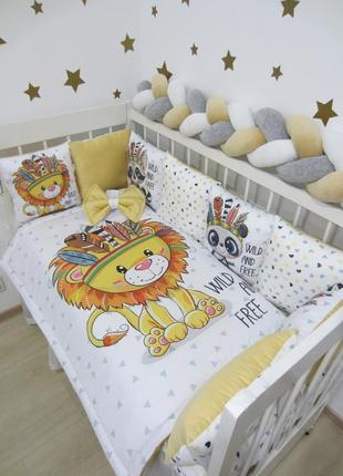 Комплект, постельное в кроватку: бортики, плед-конверт, простынь