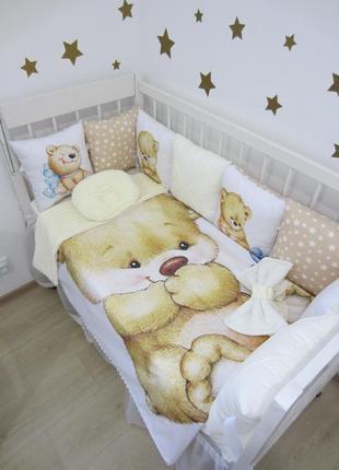 Комплект в кроватку (постельное) : бортики, защита, плед-конверт, простынь