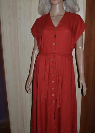 Шикарное льняное миди платье next 16 размер