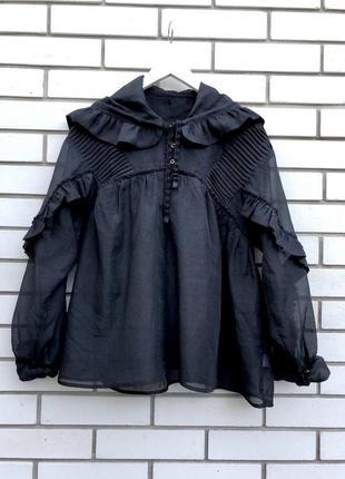 Черная блузка с капюшоном органза