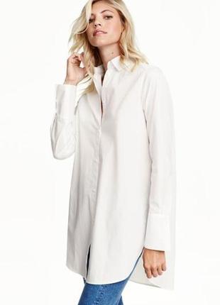 Белая хлопковая удлиненная рубашка с высокими манжетами