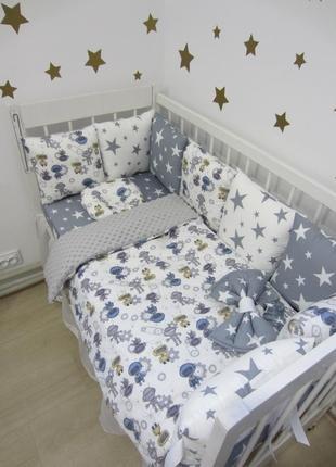 Комплект в кроватку: бортики, защита, плед-конверт, простынь
