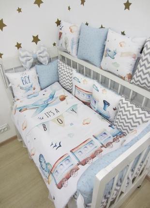 Комплект в кроватку: бортики, плед-конверт, простынь (постельное)