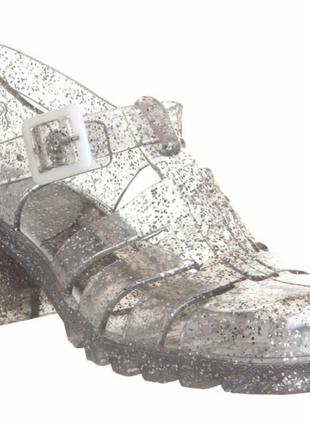 Силиконовые босоножки на каблуке juju babe jelly glitter