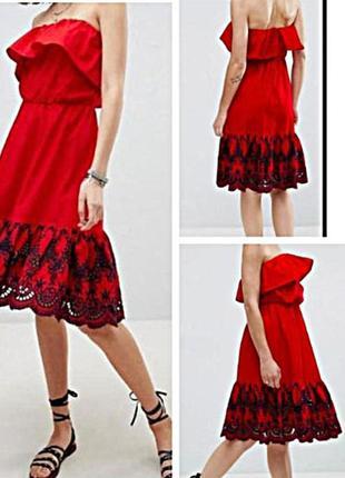 Платье 100% хлопок с красивейшим шитьем от asos,оригинал с бирками