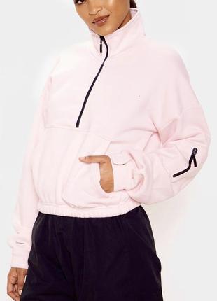 Розовый свитшот на флисе свободного кроя