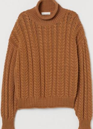 Вязаный шерстяной объёмный свитер гольф оверсайз свитер camel крупной вязки h&m