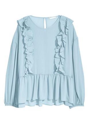 Шикарная блузка блуза с рюшами пышные рукава большой размер сорочка h&m