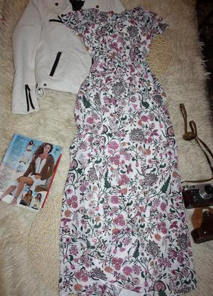 Красивое платье в пол. сарафан в цветы  h&m