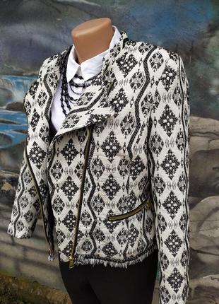 Куртка курточка косуха тканевая люрекс принт