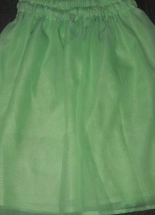 Юбка шифоновая с подкладкой салатовая на резинке, обычная сборка, 42-46