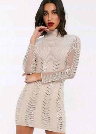 Платье в стразах и бисере с открытой спинкой asos
