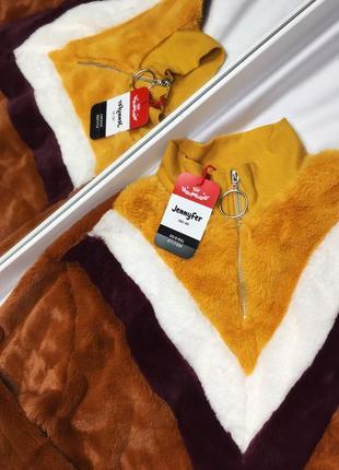 Плюшевый свитшот свитер с кольцом размер м
