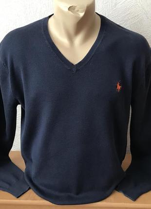 Polo ralph louren-vip-пуловер синий классический оригинал в идеале
